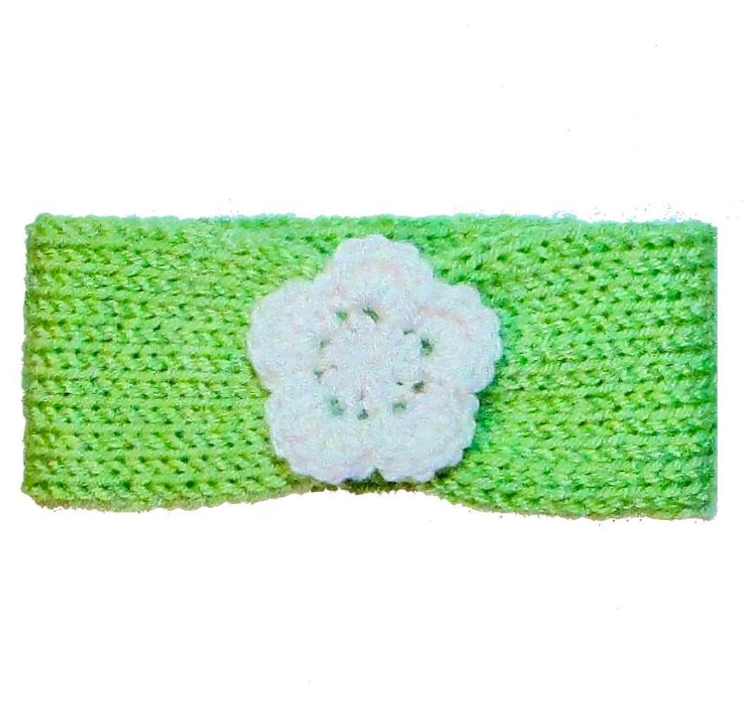 Newborn to Toddler Size Knitted Headband Crochet Flower - Alfalfa Green | Beachside Knits N Quilts