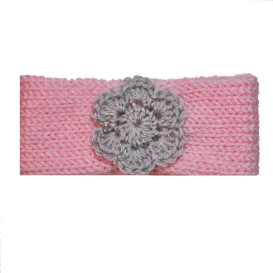 Newborn to Toddler Size Knitted Headband Crochet Flower - Blush Pink | Beachside Knits N Quilts