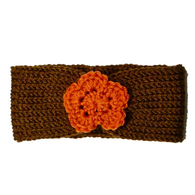 Newborn to Toddler Size Knitted Headband Crochet Flower - Fall - Thanksgiving - Orange Brown | Beachside Knits N Quilts
