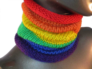 Snug Fit Slouchy Cowl - Striped - Rainbow - Knitted - LGBTQ | Beachside Knits N Quilts