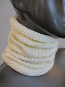 Snug Fit Slouchy Cowl - Cream - Casual - Knitted | Beachside Knits N Quilts