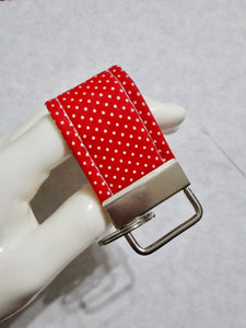 Mini Finger Key Chain Key Fob - Red White Polka Dot | Beachside Knits N Quilts