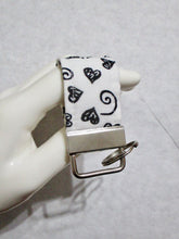 Load image into Gallery viewer, Mini Finger Key Chain Key Fob - White Black Hearts | Beachside Knits N Quilts