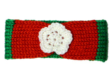Load image into Gallery viewer, Newborn to Toddler Size Knitted Headband Crochet Flower - Christmas - Red Green White | Beachside Knits N Quilts