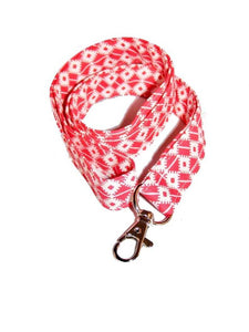Red White Seamless Cotton Lanyard Keychain Swivel Clasp | Beachside Knits N Quilts