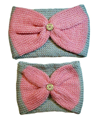Mommy & Me Bow Tie Headband Set / Ear Warmers / Pink Gray / Knitted / Gift Set | Beachside Knits N Quilts