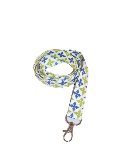 Medallion Green Blue White Seamless Cotton Lanyard Keychain Swivel Clasp - Beachside Knits N Quilts