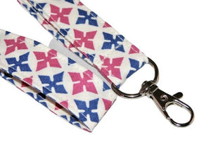 Medallion Fuchsia Blue White Seamless Cotton Lanyard Keychain Swivel Clasp | Beachside Knits N Quilts