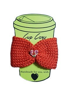 Knitted Coffee Cozy with Button - Hot Drink Sleeve - Orange Floral Heart Button | Beachside Knits N Quilts