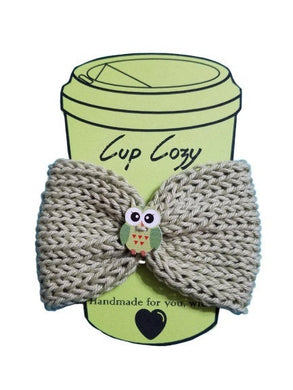 Knitted Coffee Cozy with Button - Hot Drink Sleeve - Green Owl | Beachside Knits N Quilts