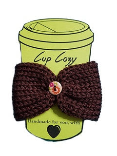 Knitted Coffee Cozy with Button - Hot Drink Sleeve - Brown Floral Button | Beachside Knits N Quilts