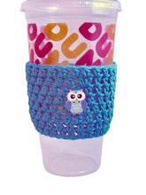 Load image into Gallery viewer, Blue Owl Crochet Hot or Iced Coffee Cozy - Iced Drink Sleeve - 100% Cotton | Beachside Knits N Quilts