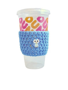 Blue Owl Crochet Hot or Iced Coffee Cozy - Iced Drink Sleeve - 100% Cotton | Beachside Knits N Quilts