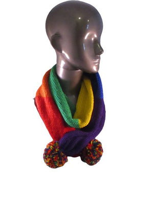 Long Scarf - Pom Poms - Striped - Rainbow - Knitted | Beachside Knits N Quilts