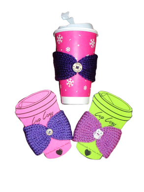 Set of 3 - Knitted Coffee Cozy with Button - Hot or Cold Drink Sleeve - Beachside Knits N Quilts