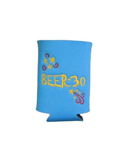 Beer:30 Can Cozy Neoprene Embroidered - Beachside Knits N Quilts
