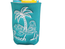 Load image into Gallery viewer, Beach Life Palm Tree Surf Can Cozy Neoprene Embroidered Dark Teal | Beachside Knits N Quilts