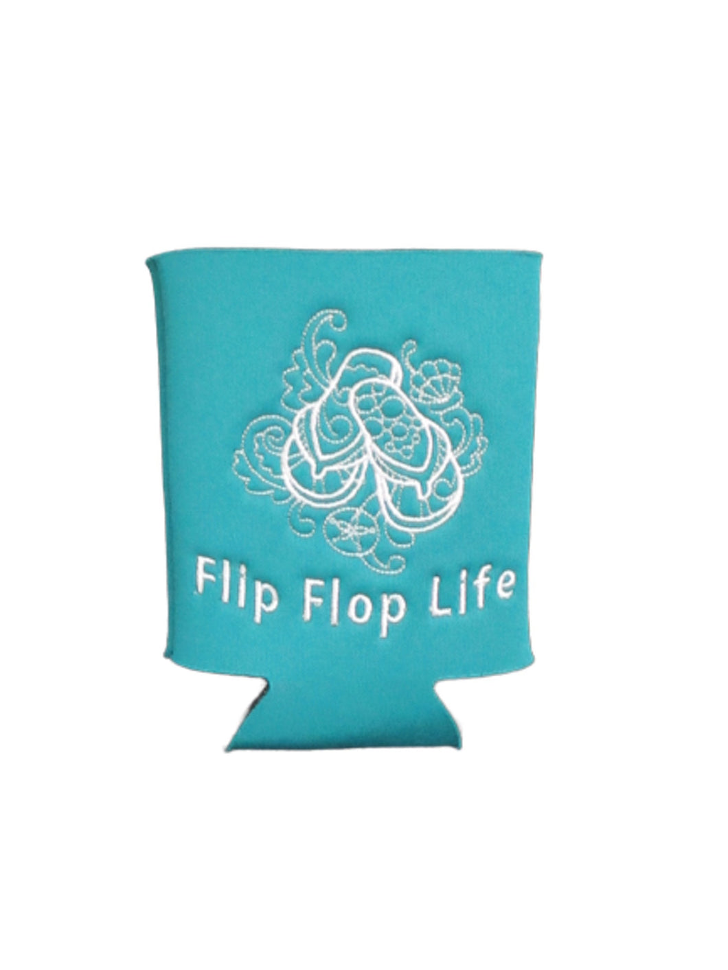Flip Flop Life Can Cozy Neoprene Embroidered Dark Teal | Beachside Knits N Quilts