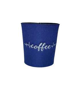 Coffee Life Line Embroidered Neoprene Coffee Sleeve Reusable Navy Blue | Beachside Knits N Quilts