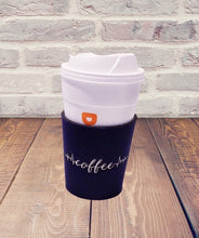 Load image into Gallery viewer, Coffee Life Line Embroidered Neoprene Coffee Sleeve Reusable Navy Blue | Beachside Knits N Quilts