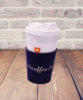 Coffee Life Line Embroidered Neoprene Coffee Sleeve Reusable Navy Blue - Beachside Knits N Quilts