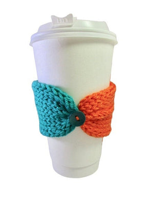 Knitted Coffee Cozy with Button - Hot Drink Sleeve - Miami Dolphins - Beachside Knits N Quilts