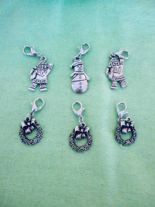 Removable Knitting Stitch Markers - Christmas Theme Santa Snowman Wreath - Set of 6 | Beachside Knits N Quilts