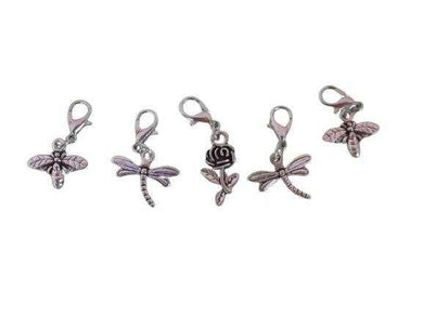Removable Knitting Stitch Markers - Honey Bees Dragonflies Rose Flower - Set of 5 - Beachside Knits N Quilts