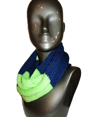 Blue Green Rugby Striped Knitted Infinity Scarf | Beachside Knits N Quilts