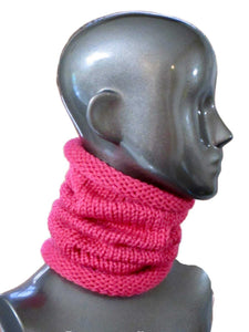 Snug Fit Slouchy Cowl - Bulky Weight - Casual - Knitted - Rouge Pink | Beachside Knits N Quilts