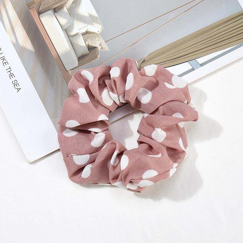 Jumbo Polka Dot Hair Scrunchies - Pink