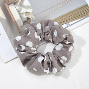 Jumbo Polka Dot Hair Scrunchies - Gray