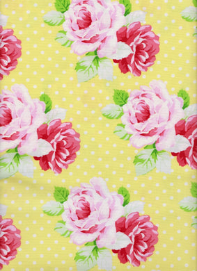 Cotton Fabric - Fabric Traditions Floral Yellow - Large Rose Dots