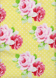 Cotton Fabric - Fabric Traditions Floral Yellow - Large Rose Dots - Beachside Knits N Quilts