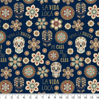 LA VIDA LOCA NAVY 1 YD COTTON CUT - Beachside Knits N Quilts