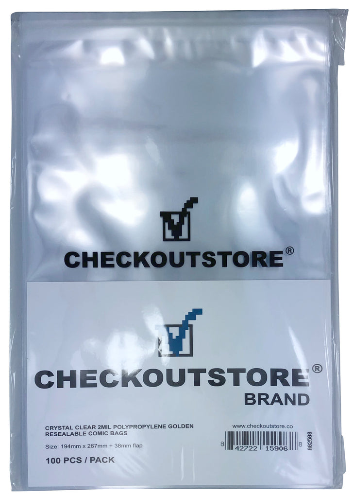 CheckOutStore Comic Supplies CheckOutStore Crystal Clear Golden Age Comic Book Bags with Sealable Flap