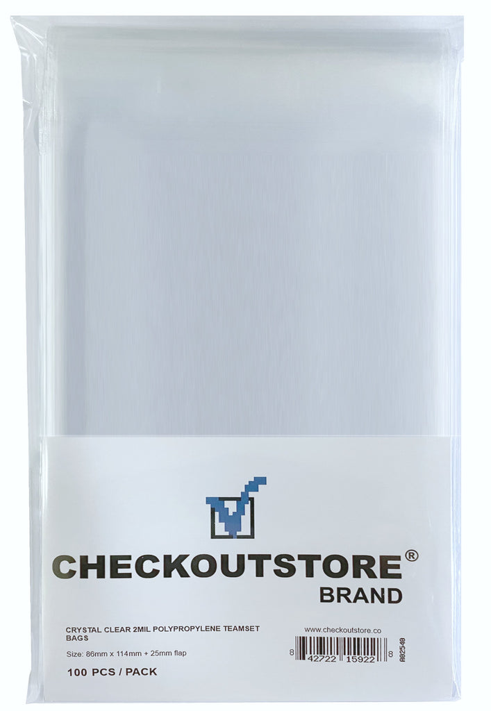 CheckOutStore Protective Sleeves CheckOutStore Crystal Clear Team Card Sets Protective Sleeves with Sealable Flap