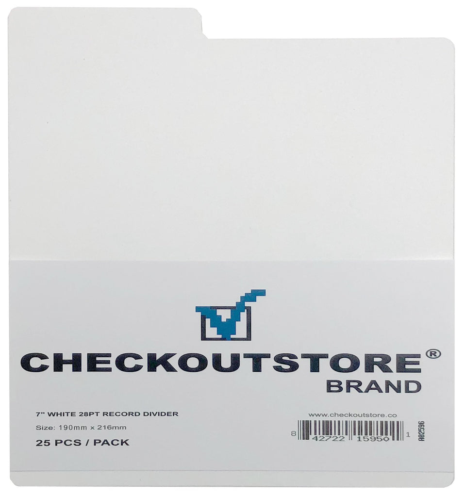 "CheckOutStore Record Dividers CheckOutStore White Plastic Record Dividers for 7"" Vinyl 45 RPM"
