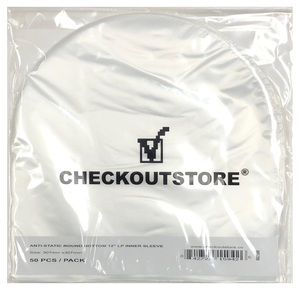"CheckOutStore Record Inner Sleeves CheckOutStore Anti Static Round Bottom Semi-transparent for 12"" Vinyl 33 RPM (Inner Sleeves)"