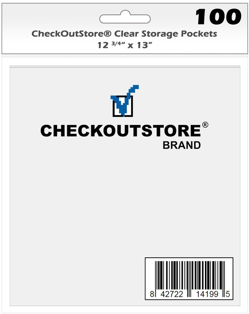 CheckOutStore Storage Pockets CheckOutStore Cardstock Clear Storage Pockets No Flap (12 3/4 x 13)
