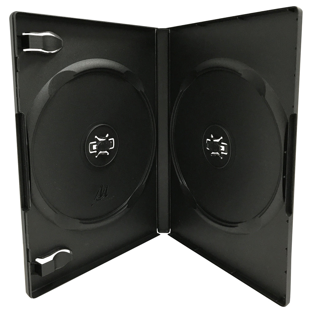 Mediaxpo DVD Cases STANDARD Black Double DVD Cases 14MM /w Patented M-Lock Hub
