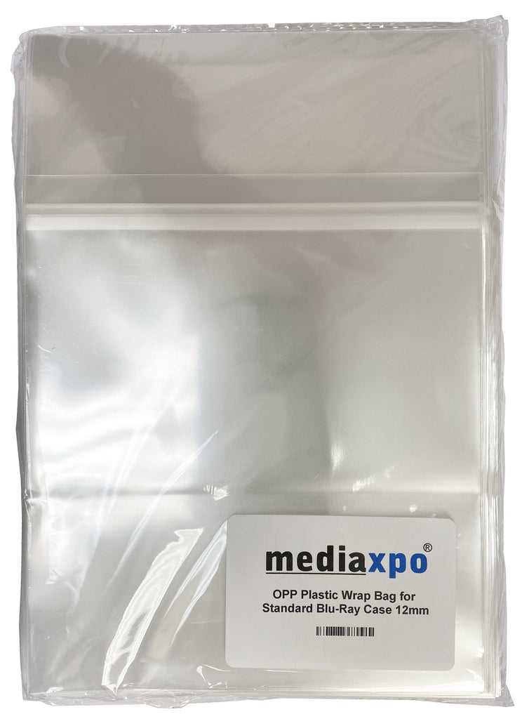 Mediaxpo OPP Plastic Bags OPP Plastic Wrap Bag for Standard Blu-Ray Case 12mm