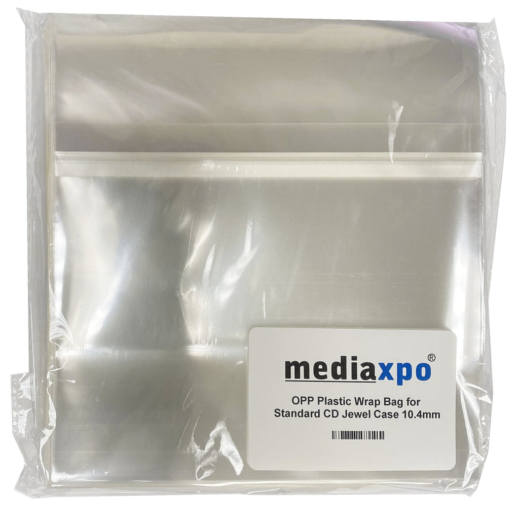 Mediaxpo OPP Plastic Bags OPP Plastic Wrap Bag for Standard CD Jewel Case 10.4mm