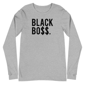 Black Boss Logo - Unisex Long Sleeve Tee White