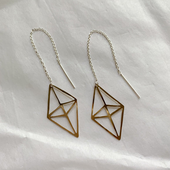 brass prism ear threaders