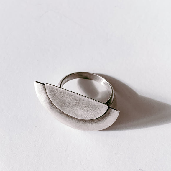 large melon ring | sterling silver | size 8.75-9