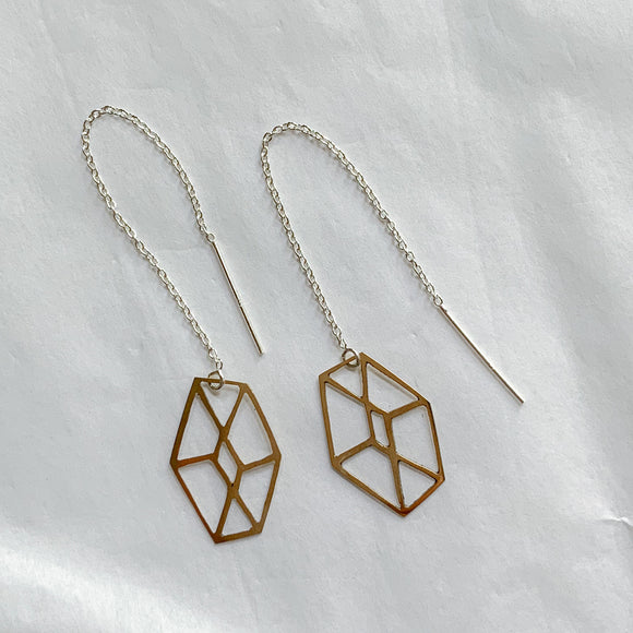 brass geo ear threaders