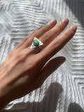 turquoise triangle | sterling silver ring | size 5.75-6