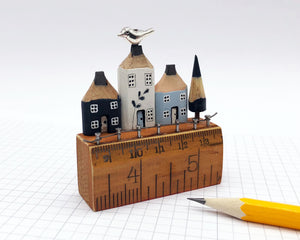 Delft Inspired Pencil Houses on Vintage Ruler Street