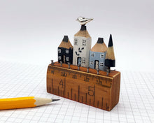 Load image into Gallery viewer, Delft Inspired Pencil Houses on Vintage Ruler Street